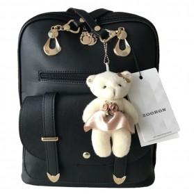 Tas Ransel Wanita dengan Boneka Beruang - Black