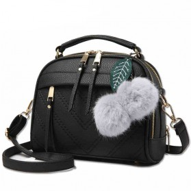 Tas Selempang Wanita Hair Ball Ornament - Black
