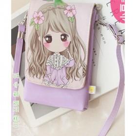 Tas Selempang Mini Girl Cartoon Bag - Light Purple