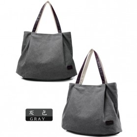 Tas Tote Fashion Wanita Retro Canvas Bag - Gray