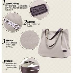 Dxyizu Tas Tote Bag Wanita Retro Canvas - Gray - 3
