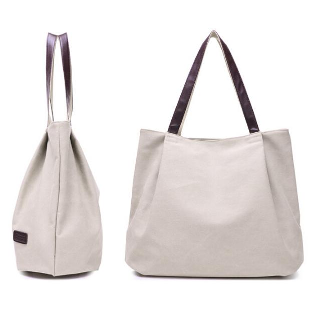... Dxyizu Tas Tote Bag Wanita Retro Canvas - Gray - 1 ...