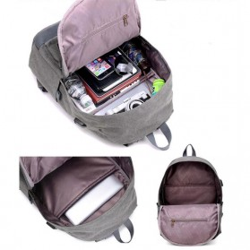 Tas Ransel Kanvas dengan USB Charger Port - Khaki - 4