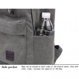 Tas Ransel Kanvas dengan USB Charger Port - Khaki - 6