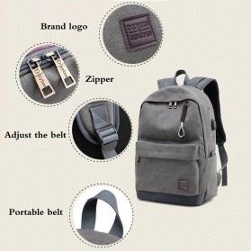 Tas Ransel Kanvas dengan USB Charger Port - Khaki - 9