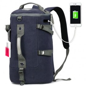 Tas Ransel Duffel Travel dengan USB Charger Port - Black Blue