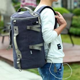 Tas Ransel Duffel Travel dengan USB Charger Port - Black Blue - 2