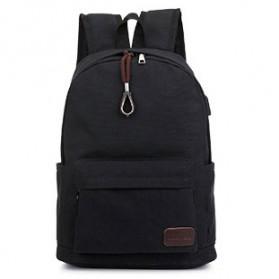Tas Ransel Daypack Kanvas dengan USB Charger Port - Black