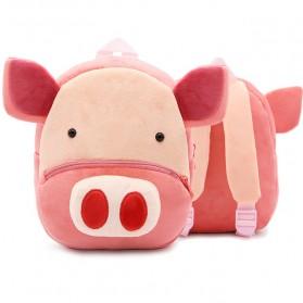 Tas Sekolah Anak Karakter Hewan 3D Model Babi - Pink