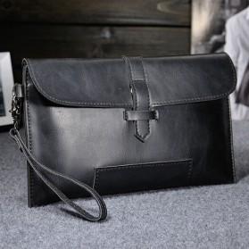 Tas Genggam Kulit Leather Clutch Bag - Black