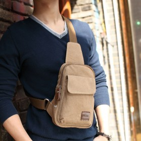 Muzee Tas Selempang Sling Bag Kasual Canvas - ME-1427 - Coffee - 2