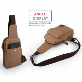 Muzee Tas Selempang Sling Bag Kasual Canvas - ME-1427 - Coffee - 4