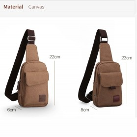 Muzee Tas Selempang Sling Bag Kasual Canvas - ME-1427 - Coffee - 5