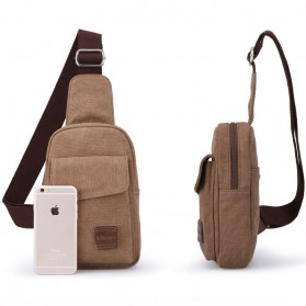 Muzee Tas Selempang Sling Bag Kasual Canvas - ME-1427 - Coffee - 6