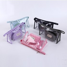 Pouch Kosmetik Transparant 3 in 1 - Pink - 3