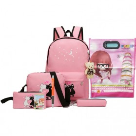 Paket Tas Ransel Anak 8 in 1 Sekolah Printing Kucing - Pink
