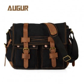 Augur Tas Selempang Canvas Military Messenger Bag - BW004 - Black