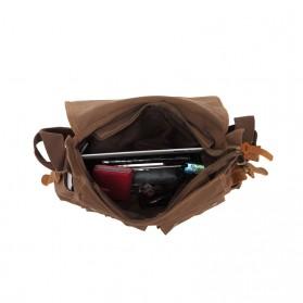 Augur Tas Selempang Canvas Military Messenger Bag - BW004 - Black - 5
