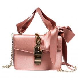 Tas Selempang Wanita dengan Pita Bowknot Messenger Bag - Pink