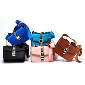 Tas Selempang Wanita dengan Pita Bowknot Messenger Bag - Pink - 4