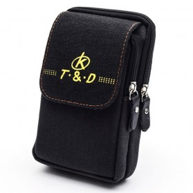 T&D Tas Pinggang Canvas Pocket Bag - Black