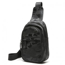 Etonweag Tas Selempang Pria Camouflage Bahan Kulit - 9876 - Black