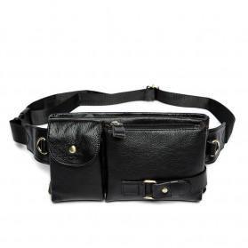 Tas Selempang Pinggang Kulit Fanny Pack - jp9080 - Black