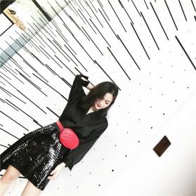 Tas Selempang Pinggang Purse Wanita PU Leather Bag - SWDF18050201 - Black - 6