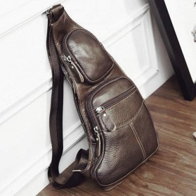 Tas Selempang Crossbody Bag Bahan Kulit Sling Retro Vintage - Brown