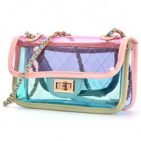 Tas Selempang Wanita Model Transparent Jelly Bag - 6278 - Pink
