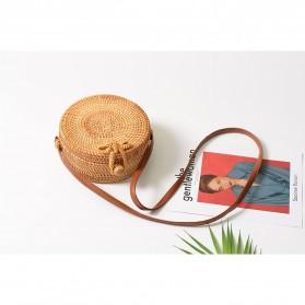 Tas Selempang Wanita Straw Summer Beach Bag - FT - Brown - 2