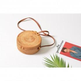 Tas Selempang Wanita Straw Summer Beach Bag - FT - Brown - 5