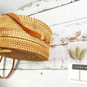 Tas Selempang Wanita Straw Summer Beach Bag - FT - Brown - 7