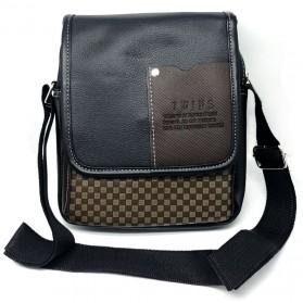 Twins Tas Selempang Pria Messenger Bag Bahan Kulit - JQ701 - Black