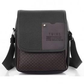Twins Tas Selempang Pria Messenger Bag Bahan Kulit - JQ701 - Black - 2