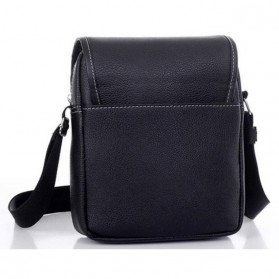 Twins Tas Selempang Pria Messenger Bag Bahan Kulit - JQ701 - Black - 3