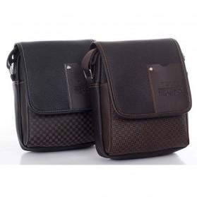Twins Tas Selempang Pria Messenger Bag Bahan Kulit - JQ701 - Black - 4