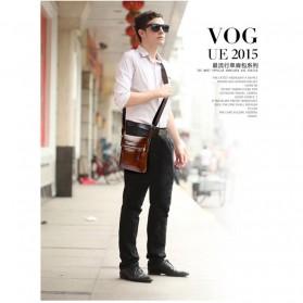 Rhodey Polo Weide Tas Selempang Pria Messenger Bag Bahan Kulit Model Vertical - 0611 - Khaki - 2