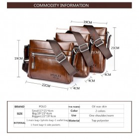 Rhodey Polo Weide Tas Selempang Pria Messenger Bag Bahan Kulit Model Vertical - 0611 - Khaki - 3