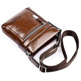 Rhodey Polo Weide Tas Selempang Pria Messenger Bag Bahan Kulit Model Vertical - 0611 - Khaki - 4