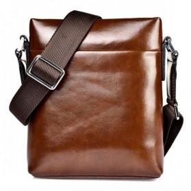 Rhodey Polo Weide Tas Selempang Pria Messenger Bag Bahan Kulit Model Vertical - 0611 - Khaki - 5