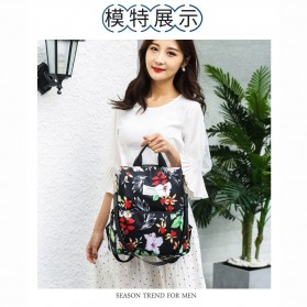 CHAN PIN Tas Ransel Sekolah Wanita Korea Motif Bunga - CNA01 - Black - 2