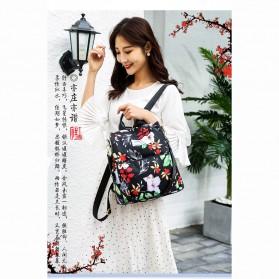 CHAN PIN Tas Ransel Sekolah Wanita Korea Motif Bunga - CNA01 - Black - 3