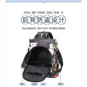 CHAN PIN Tas Ransel Sekolah Wanita Korea Motif Bunga - CNA01 - Black - 5