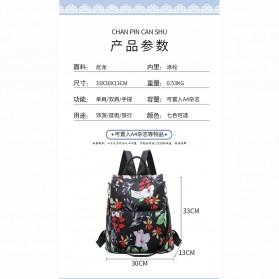 CHAN PIN Tas Ransel Sekolah Wanita Korea Motif Bunga - CNA01 - Black - 10