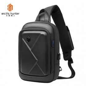 Arctic Hunter Tas Selempang Crossbody Pria Wired USB - XB00080 - Black