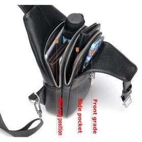 Rhodey Tas Selempang Kulit Crossbody Sling Bag - HA-034 - Black - 6