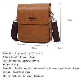 Jeep Tas Selempang Messenger Bag Kulit Maskulin Pria - PI704 - Black - 4