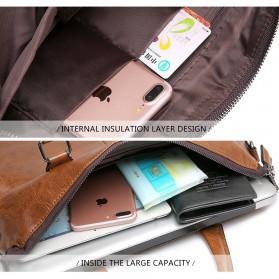 Rhodey Tas Selempang Jinjing Messenger Bag Kulit Maskulin Pria - PI667 - Dark Brown - 10