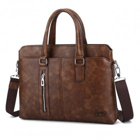 Jeep Tas Selempang Jinjing Messenger Bag Kulit Maskulin Pria - PI663 - Brown